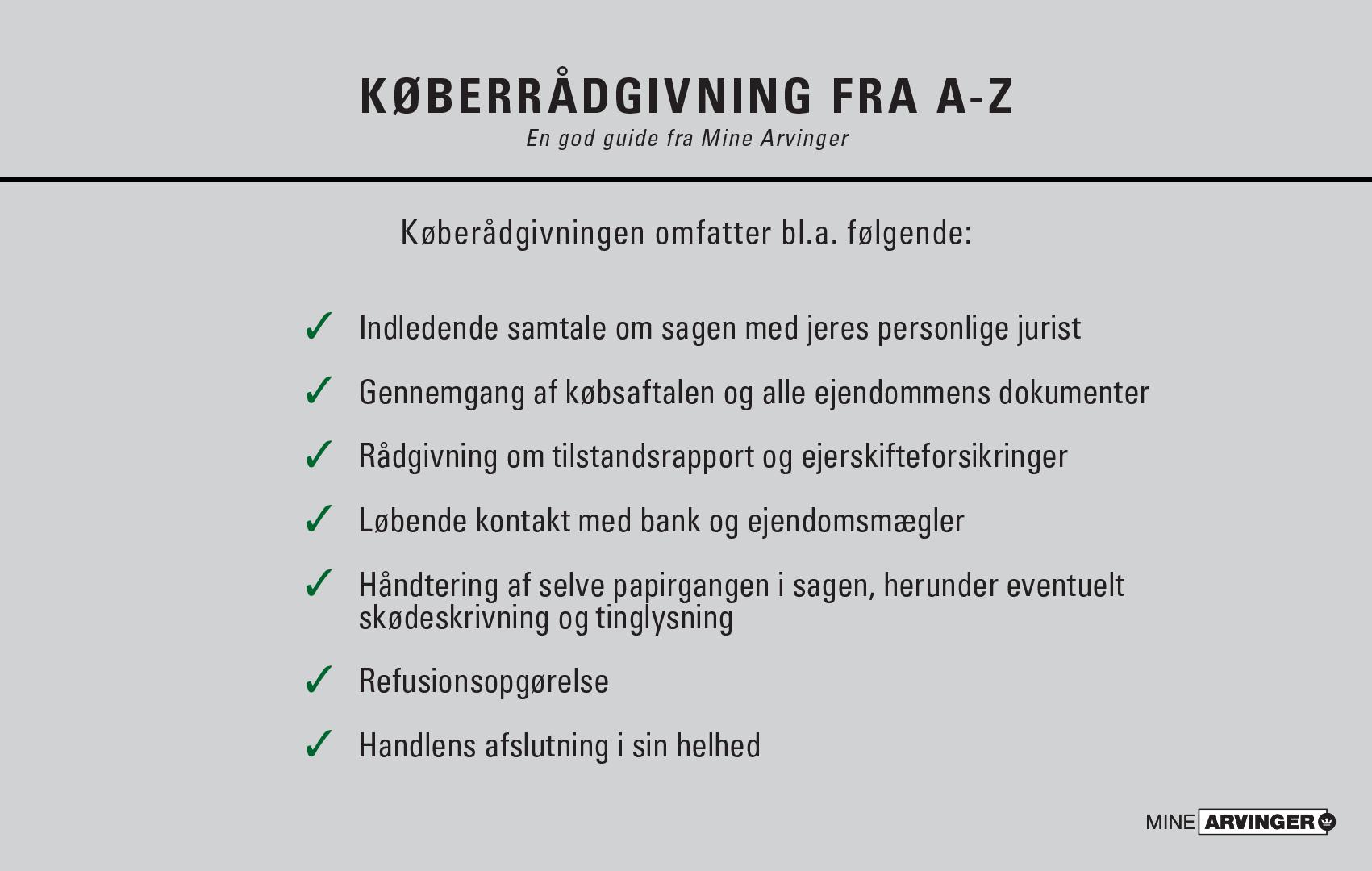 Køberrådgivning ved boligkøb hos Mine Arvinger omfatter bl.a. følgende: